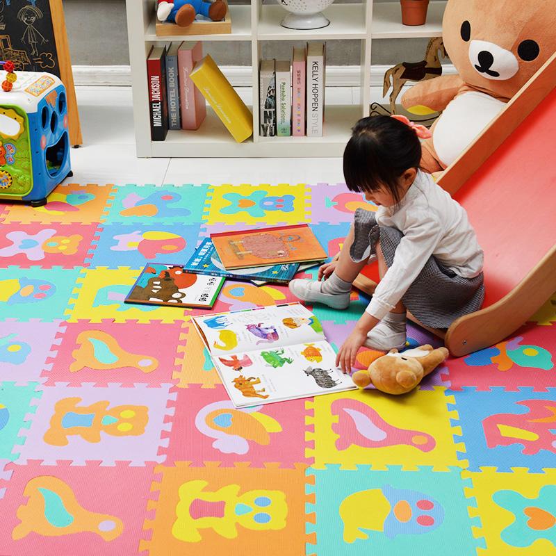 明德动物拼图地垫婴儿PE泡沫防滑地垫宝宝卧室拼接爬行垫客厅家用