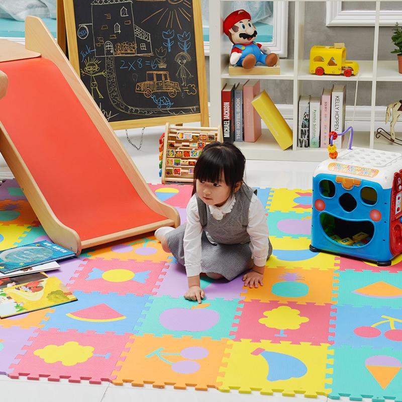 明德水果拼图地垫婴儿PE泡沫防滑地垫宝宝卧室拼接爬行垫客厅家用